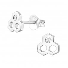 Honeycomb - 925 Sterling Silver Ear Studs with Zirconia stones A4S38416