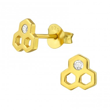 Honeycomb - 925 Sterling Silver Ear Studs with Zirconia stones A4S38417