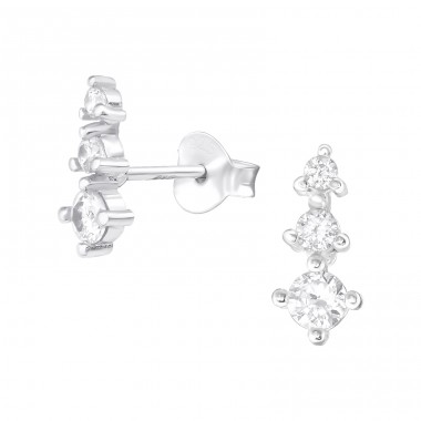 Sparkling - 925 Sterling Silver Ear Studs with Zirconia stones A4S38418