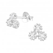 Triple Star - 925 Sterling Silver Ear Studs with Zirconia stones A4S38419