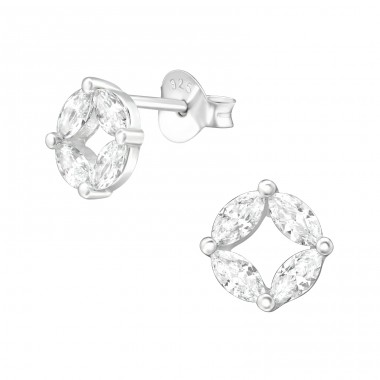Sparkling - 925 Sterling Silver Ear Studs with Zirconia stones A4S38420