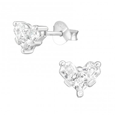 Heart - 925 Sterling Silver Ear Studs with Zirconia stones A4S38421