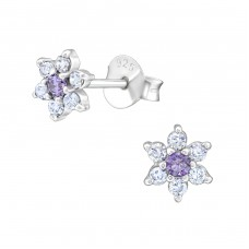 Flower - 925 Sterling Silver Ear Studs with Zirconia stones A4S38422