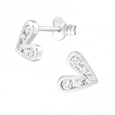 Heart - 925 Sterling Silver Ear Studs with Zirconia stones A4S38425
