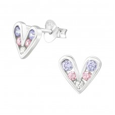 Heart - 925 Sterling Silver Ear Studs with Zirconia stones A4S38426
