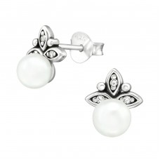 Antique - 925 Sterling Silver Ear Studs with Zirconia stones A4S38428