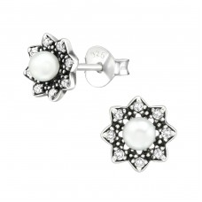 Flower - 925 Sterling Silver Ear Studs with Zirconia stones A4S38429