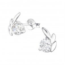 Leaf - 925 Sterling Silver Ear Studs with Zirconia stones A4S38484