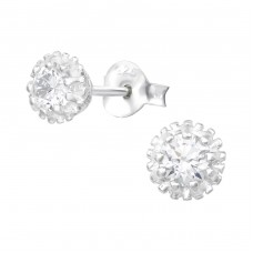 Sparking - 925 Sterling Silver Ear Studs with Zirconia stones A4S38491