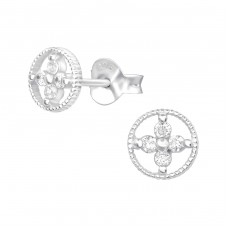 Flower - 925 Sterling Silver Ear Studs with Zirconia stones A4S38585