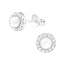 Geometric - 925 Sterling Silver Ear Studs with Zirconia stones A4S38683