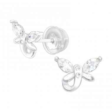 Butterfly - 925 Sterling Silver Ear Studs with Zirconia stones A4S38811