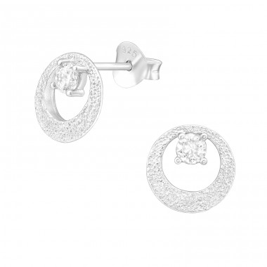 Round - 925 Sterling Silver Ear Studs with Zirconia stones A4S38813