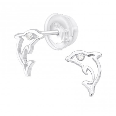 Dolphin - 925 Sterling Silver Ear Studs with Zirconia stones A4S38822