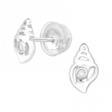 Conch - 925 Sterling Silver Ear Studs with Zirconia stones A4S38824