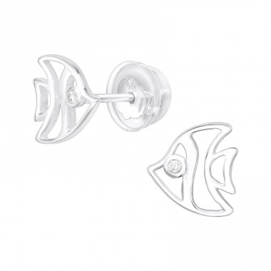 Fish - 925 Sterling Silver Ear Studs with Zirconia stones A4S38825