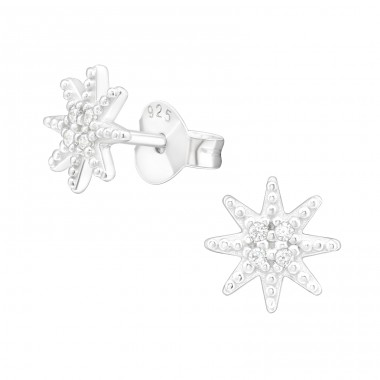 Northern Star - 925 Sterling Silver Ear Studs with Zirconia stones A4S38827