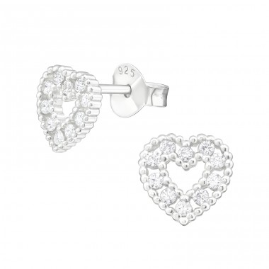 Heart - 925 Sterling Silver Ear Studs with Zirconia stones A4S38829