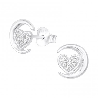 Moon & Heart - 925 Sterling Silver Ear Studs with Zirconia stones A4S38840