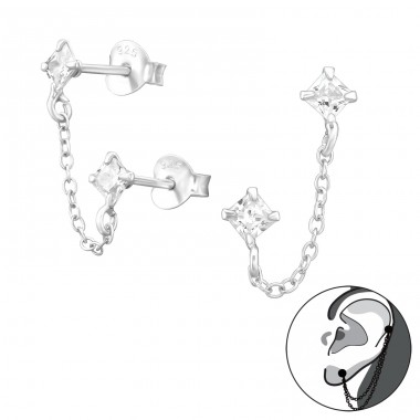 Square With Hanging Chain - 925 Sterling Silver Ear Studs with Zirconia stones A4S38873