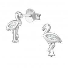 Flamingo - 925 Sterling Silver Ear Studs with Zirconia stones A4S38882