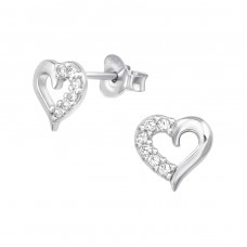Heart - 925 Sterling Silver Ear Studs with Zirconia stones A4S38902