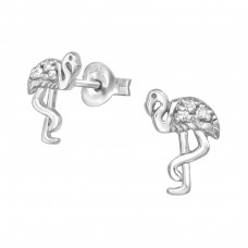 Flamingo - 925 Sterling Silver Ear Studs with Zirconia stones A4S38921