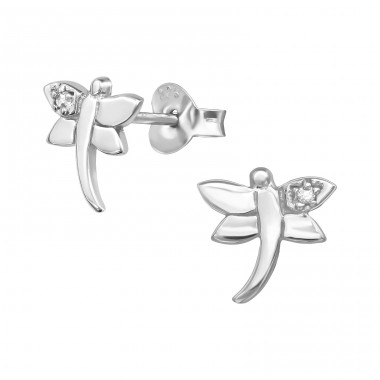 Dragonfly - 925 Sterling Silver Ear Studs with Zirconia stones A4S38933