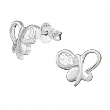 Butterfly - 925 Sterling Silver Ear Studs with Zirconia stones A4S38935