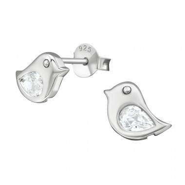 Bird - 925 Sterling Silver Ear Studs with Zirconia stones A4S38936
