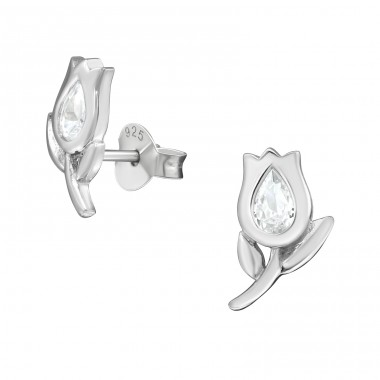 Tulip - 925 Sterling Silver Ear Studs with Zirconia stones A4S38938