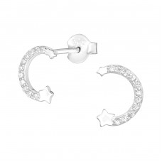 Star - 925 Sterling Silver Ear Studs with Zirconia stones A4S38969