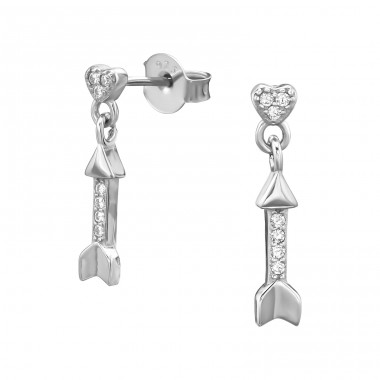 Heart With Hanging Arrow - 925 Sterling Silver Ear Studs with Zirconia stones A4S38970