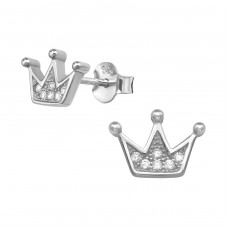 Crown - 925 Sterling Silver Ear Studs with Zirconia stones A4S38971