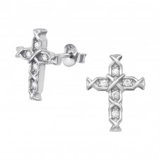 Cross - 925 Sterling Silver Ear Studs with Zirconia stones A4S38972