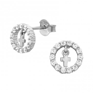 Circle With Hanging Cross - 925 Sterling Silver Ear Studs with Zirconia stones A4S38973