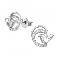 Bird - 925 Sterling Silver Ear Studs with Zirconia stones A4S38974