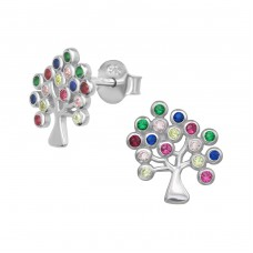 Tree Of Life - 925 Sterling Silver Ear Studs with Zirconia stones A4S38975