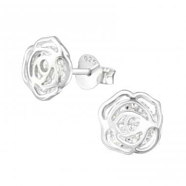 Rose - 925 Sterling Silver Ear Studs with Zirconia stones A4S39034