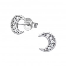 Moon - 925 Sterling Silver Ear Studs with Zirconia stones A4S39050
