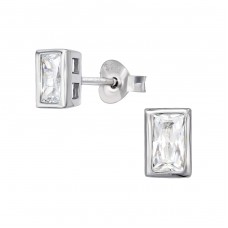 Rectangle - 925 Sterling Silver Ear Studs with Zirconia stones A4S39052