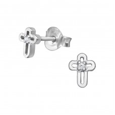 Cross - 925 Sterling Silver Ear Studs with Zirconia stones A4S39055