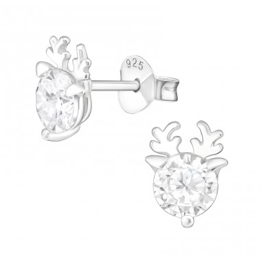 Deer - 925 Sterling Silver Ear Studs with Zirconia stones A4S39057
