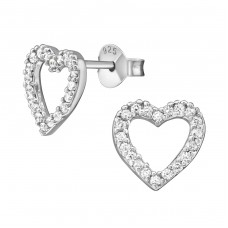 Heart - 925 Sterling Silver Ear Studs with Zirconia stones A4S39058