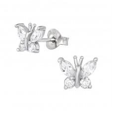 Butterfly - 925 Sterling Silver Ear Studs with Zirconia stones A4S39059
