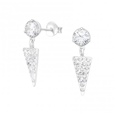 Round With Hanging Triangle - 925 Sterling Silver Ear Studs with Zirconia stones A4S39068