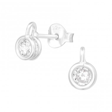 Round - 925 Sterling Silver Ear Studs with Zirconia stones A4S39108