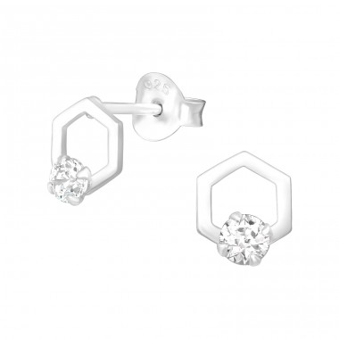 Hexagon - 925 Sterling Silver Ear Studs with Zirconia stones A4S39109