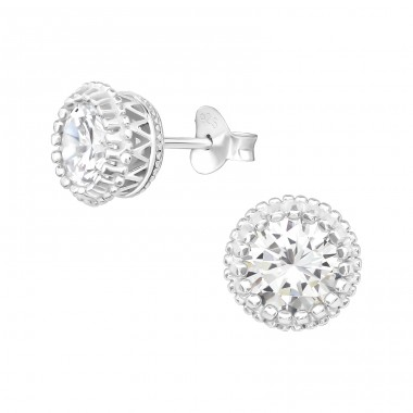 Sparkling - 925 Sterling Silver Ear Studs with Zirconia stones A4S39150