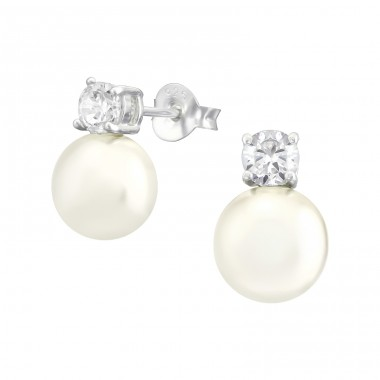 Round - 925 Sterling Silver Ear Studs with Zirconia stones A4S39152